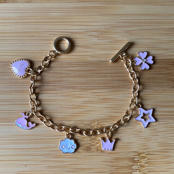 BNIB- Gold Charm Bracelet with Pink/White Charms